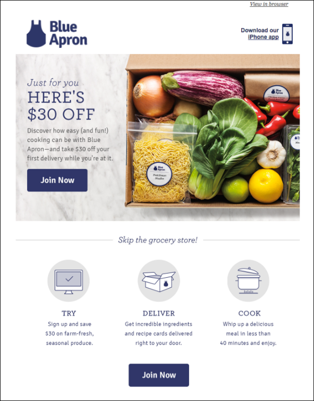 Example of coupon advertising