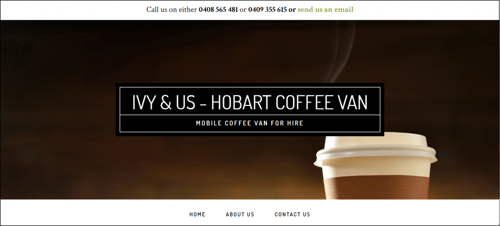 Example of an uncluttered website for a small business