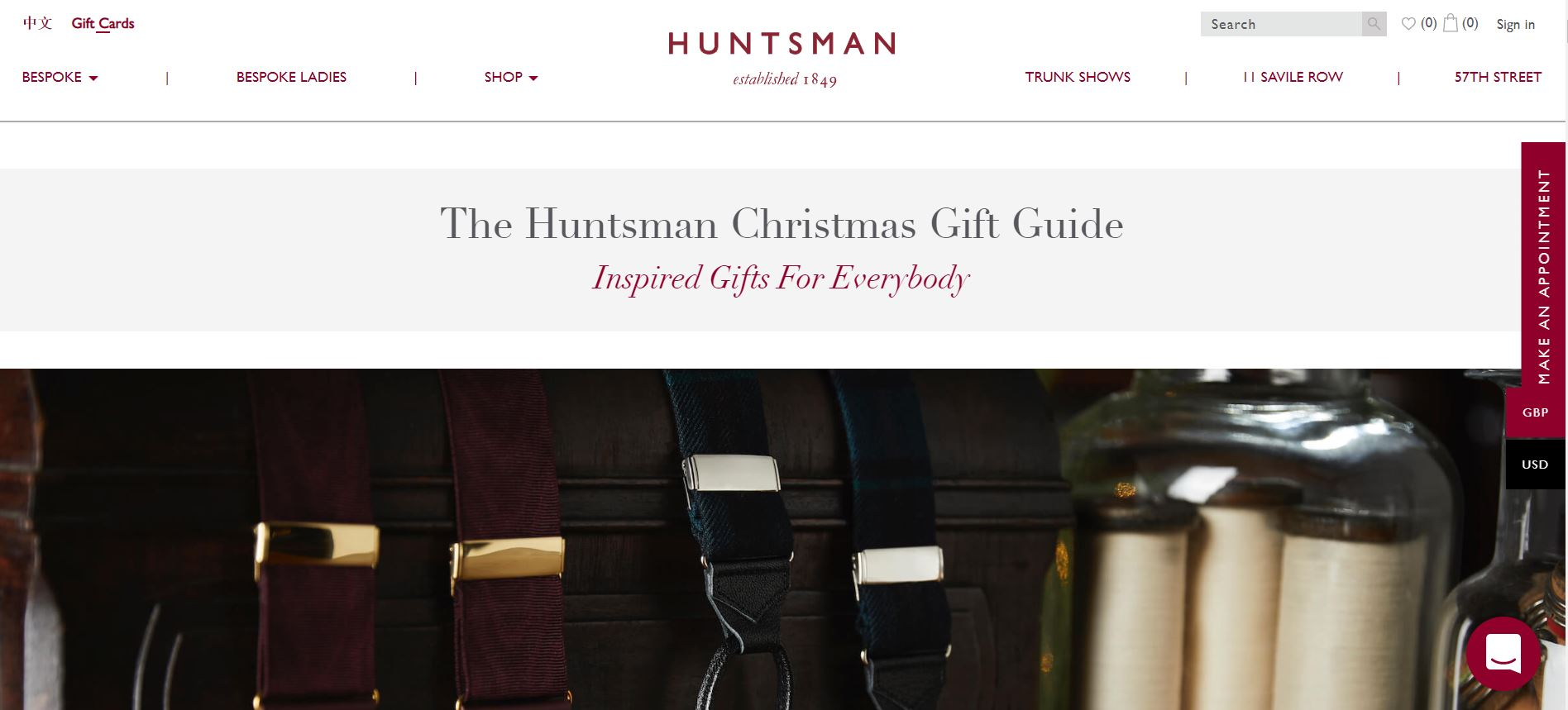 Christmas Gift Guide Page on Hunstman's Website